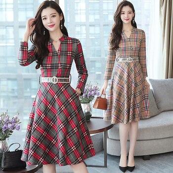 688d9f0a8992039 Осень зима 3XL плюс размер винтажные миди платья 2019 корейские женские  элегантные облегающие клетчатые платья вечерние с длинным рукавом под.