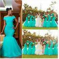 2016 barato de la sirena dama de honor vestidos invitado de boda vestidos de encaje africano fuera del hombro largo de la vendimia árabe vestido de dama de honor