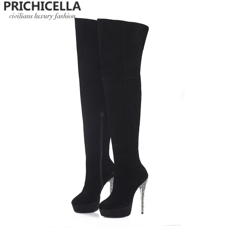 PRICHICELLA platform stiletto heels round toe leather over the knee boots crystal studded heel genuine leather