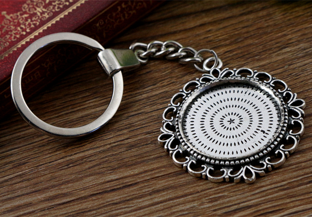 2pcs 25mm Inner Size Antique Silver plated Cameo Setting Base;Handmade Cameo Setting, Metal Key Chains Accessor (SG-A3-44)