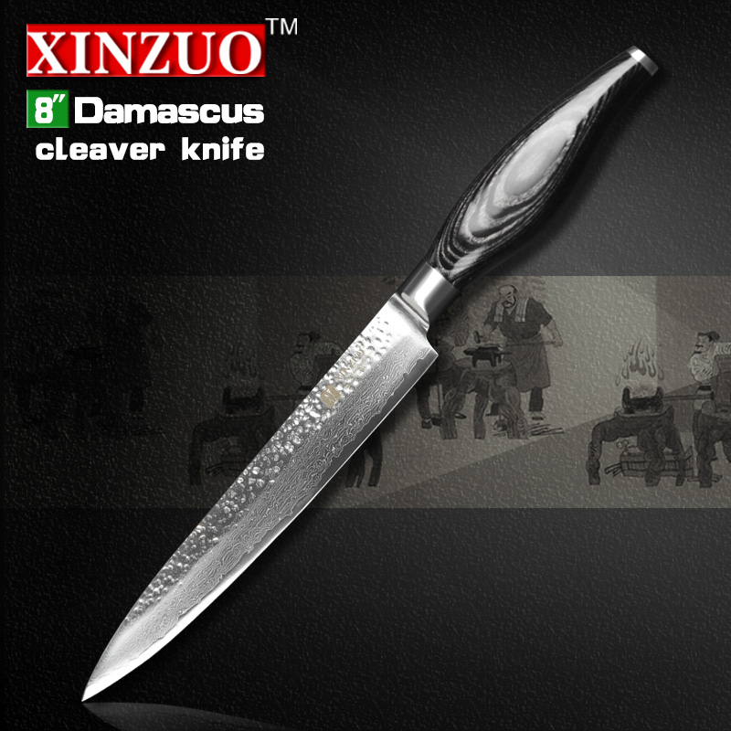 XINZUO 8 cleaver font b knife b font 73 layers Japanese Damascus kitchen font b knife