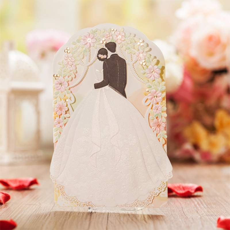Design Tri-Fold Flower Wedding Invitations Bride Groom Lace Rose Printing Blank Invitation Card Kit Colorful Envelope square design white laser cut invitations kit blanl paper printing wedding invitation card set send envelope casamento convite