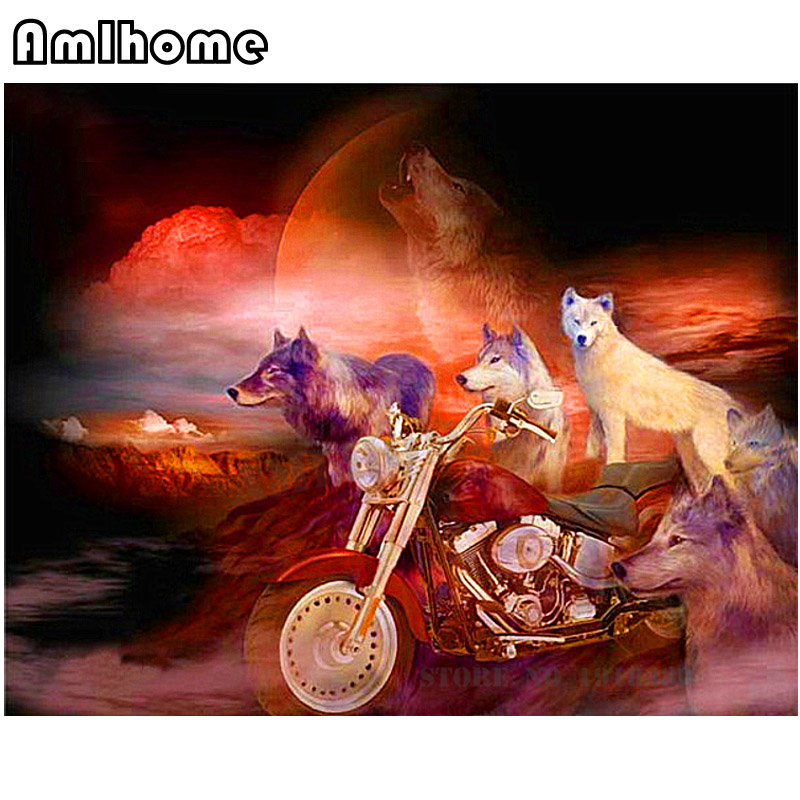 NEW 5D DIY Diamond Painting Motorcycles&Wolves Crystal Diamond Painting Cross Stitch Crystal Needlework Home Decorative HC1233