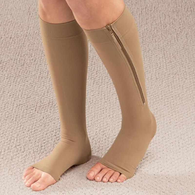 Underwear & Sleepwears Analytical Fashion 1pair Zip Compression Socks Zipper Leg Support Knee Stockings Open Toe Thin Anti-fatigue Unisex Compression Socks Attractive Fashion