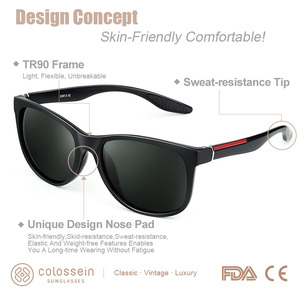 Image 2 - COLOSSEIN Female Sunglasses Men Polarized Classic TR90 Square Glasses Frame Men Sunglasses Vintage Driving Sun Glasses Eyewear