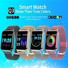 Reloj inteligente Q3 impermeable dinámico en sangre, presión de oxígeno en la sangre de presión podómetro Fitness Tracker de Smartwatch