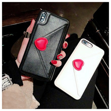 3D Love Heart Envelope Design Case For iPhone X XR XS Max Flip PU Leather Wallet Cards Cover 6 6s 7 8 Plus Phone