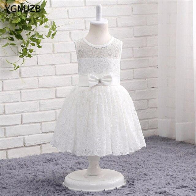 Weiß Elfenbein Spitze Blumenmädchenkleider für Hochzeit Tank Kappen ...