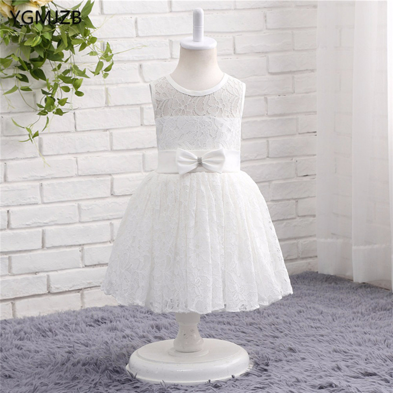 White Ivory Lace   Flower     Girl     Dresses   for Wedding Tank Cap Sleeves First Communion   Dresses   Prom   Dress   for Kids Party   Dresses