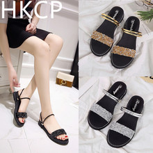 HKCP Flat sandals summer 2019 ladies versatile water drill open toe band two wear gladiator shoes C052