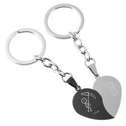 Stainless Steel Keychain Vintage Cute Lovers Heart Shaped Combination Couple Keychains Business Men Best Party gift Jewelry 2097
