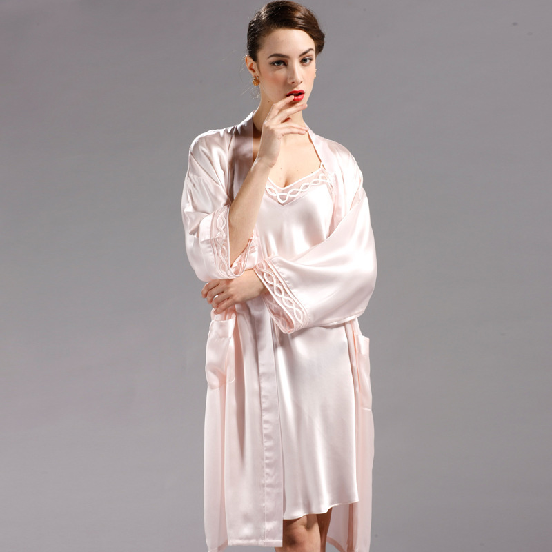 Fashion Silk Robes+ Suspender Nightgowns Women Sexy Suspender Silk Lace Luxury Robe Sets Bathrobe Loungewear