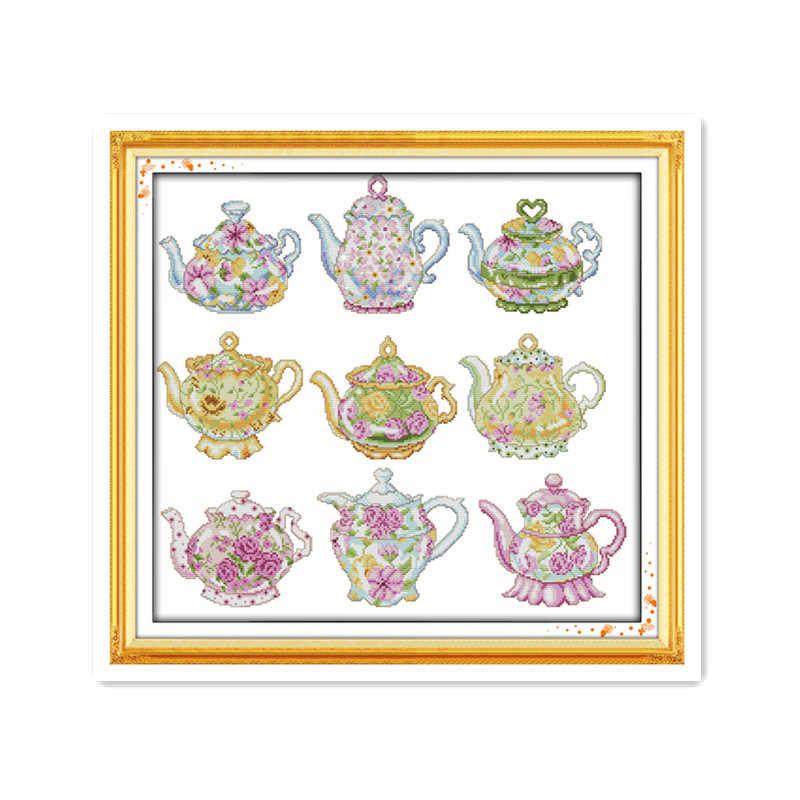 11CT 14CT печатная ткань ручной работы diy нить DMC Вышивка изысканный чайник серии мебельные аксессуары рукоделие вышивка