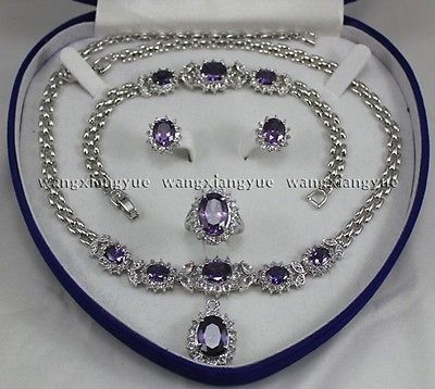 Beautiful!Amethyst Inlay Link Bracelet earrings Ring Necklace Set>>18K gold plated watch wholesale Quartz stone CZ crystal