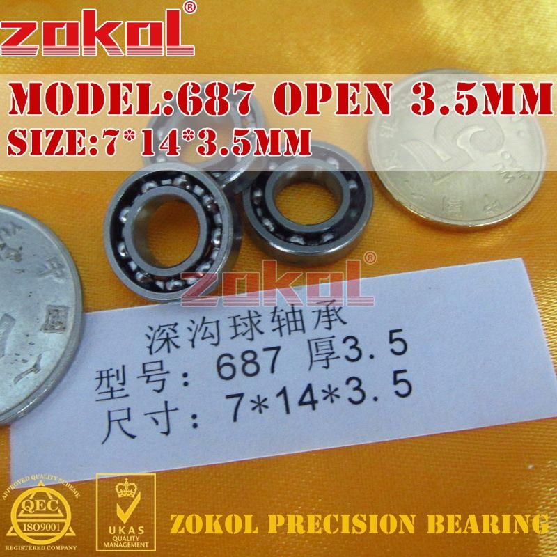 ZOKOL bearing 687 Open Height 3.5mm Miniature Deep Groove ball bearing 7*14*3.5mm zokol bearing mr85zz z1 miniature deep groove ball bearing 5 8 2 5mm