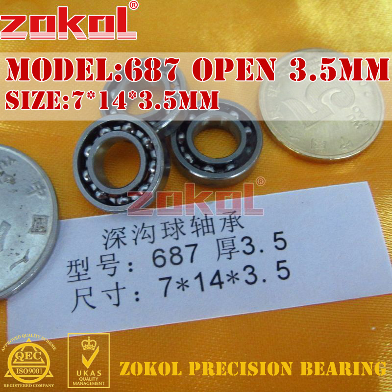 ZOKOL bearing 687zz 687ZZ P5Z4 687 OPEN Miniature  Deep Groove ball bearing 7*14*3.5mm 7*14*5mm