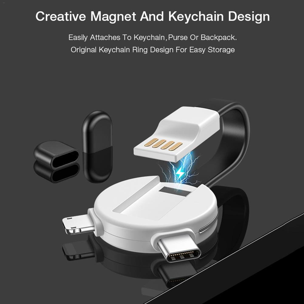 Image 2 - 3 in 1 New Bear Keychain Charging Cable Data Cable Data Transmission Charging Data Cable For Ios Android TYPE C Portable-in Data Cables from Consumer Electronics