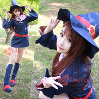Japanese Anime Little Witch Academia Cosplay Halloween Party Girls Cute Witch Costume Coat Shirt Belt Tie