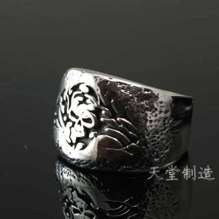 925 pure silver unique decorative pattern skull thai silver ring