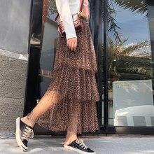 YICIYA Yellow mesh leopard pleated skirt woman plus size midi tulle tule rok ruffles ploka dot skirts womens 2019 summer