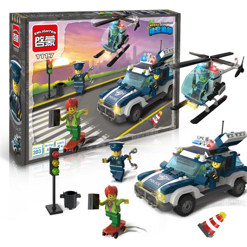 394Pcs Police Cars Helicopter  Action Figure Enlighten Cops And Robbers Toys For Children minifigure cars for children