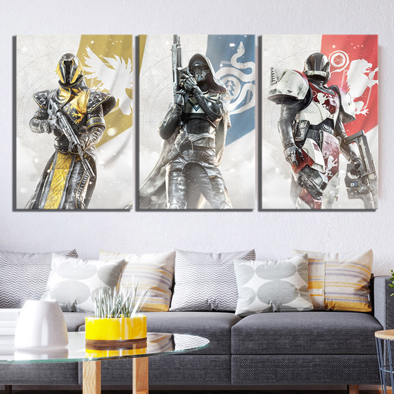 3 Piece HD Fantasy Art Pictures Destiny 2 Guardians Game Poster Canvas Paintings Wall Art for Home Decor 2
