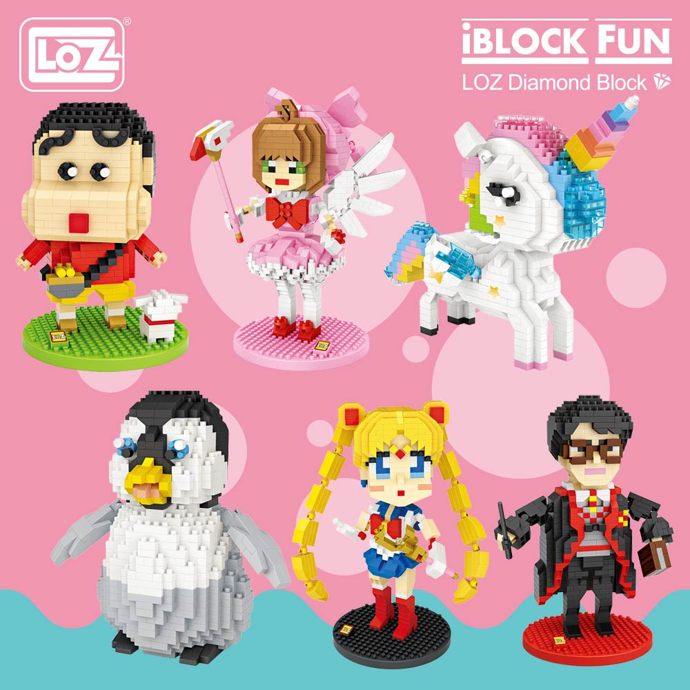LOZ Diamond Blocks Assembly Anime Action Figure Kawaii Mini Micro Building Blocks Bricks Diy Educational Toys for Children Gift стоимость