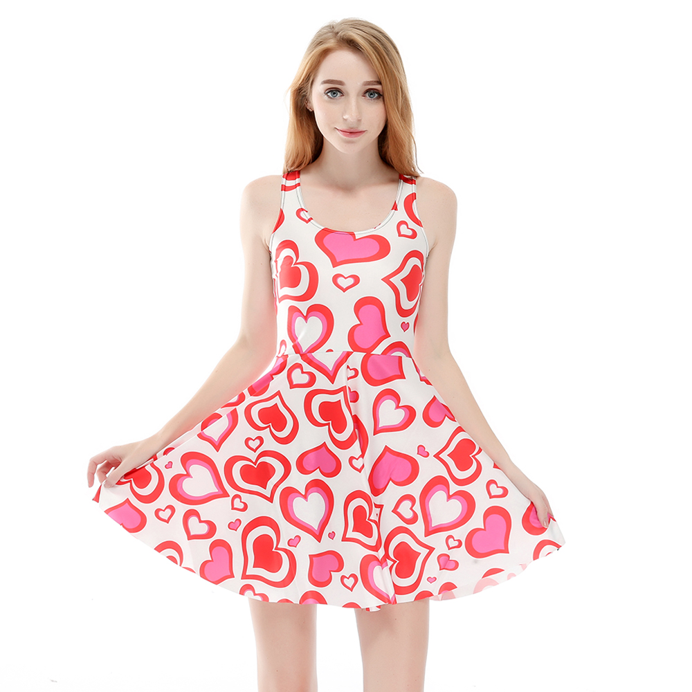 Hot sale New arrival Fashion 3D Women pink heart love print silm Expansion  sleeveless dress drop shipping  Free shipping-in Dresses from Women s  Clothing on ... 2f781622e