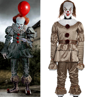 Stephen King's It Mask Joker Pennywise Uniform Costume Cosplay Scary Joker Suit Halloween Fantacy Costumes Masquerade Party Prop