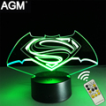 Marvel superman 3d luces de la noche de 7 colores rgb led 3d novelty nocturna centellante Iron man 3D Touch Table lamp Lights Mejor Para Los Niños regalos