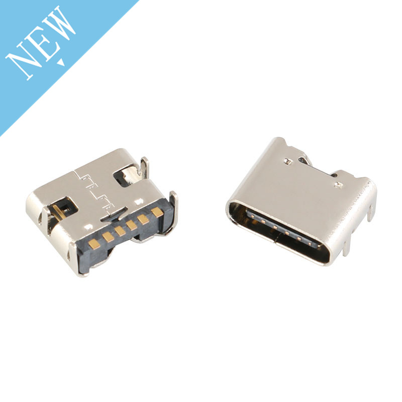 10pcs/lot 6 Pin SMT Socket Connector Micro USB Type C 3.1 Female Placement SMD DIP For PCB Design DIY High Current Charging