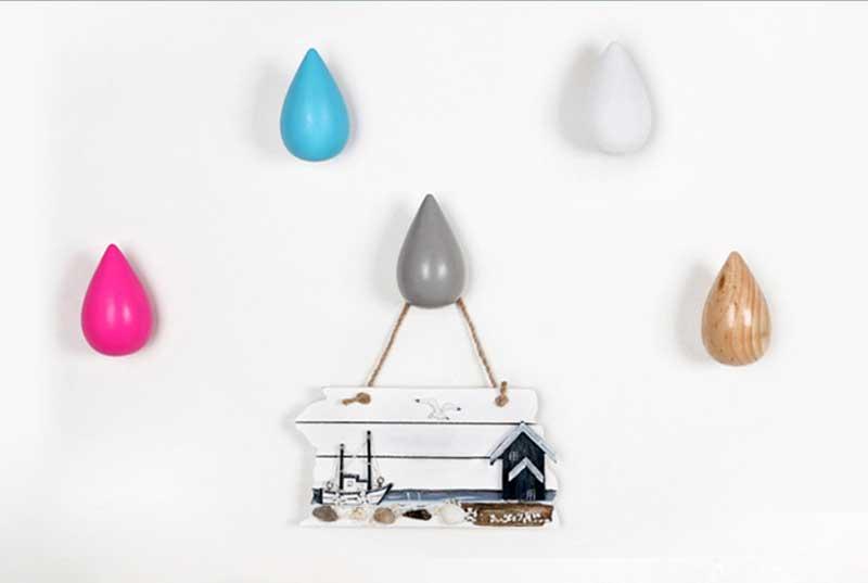 3pcs wooden water small drop coat hat hanger, wall mounted coat hat hooks. 7 colors wood base metal hook coat hanger 5 hooks hat key hanger wall mounted