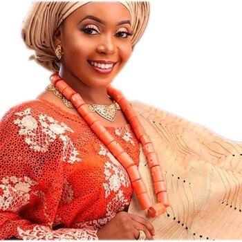 Conjuntos de joyería de boda africana, cuentas de Coral nigerianas naturales, conjunto de joyería nupcial para mujeres, envío gratis, conjunto de collar de diseño grande 2018