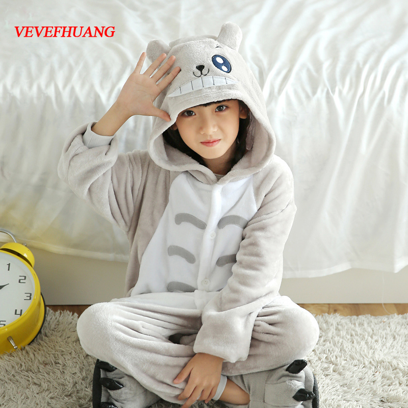 VEVEFHUANG Children Totoro Pajamas Onesie Kids Anime Cosplay Costume Boys Girls Lovely Gray Cat Sleepwear Winter