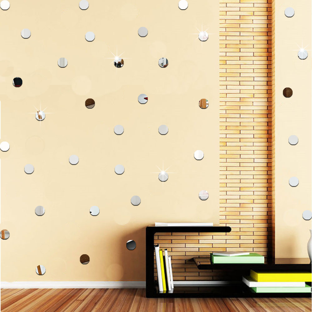 5x5cm round acrylic mirror wall sticker Background Wall Sticker Bedroom Decoration 3D reflecting mirror stickers home decor B