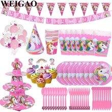 104 Uds decoración de unicornios juego de vajilla desechable unicornio Banner taza decoración de fiesta con diseño de feliz cumpleaños niños bebé regalos para fiesta de bebé