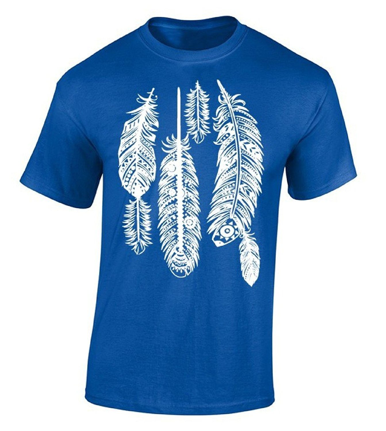 Pop Cotton Tee Short Sleeve Top Crew Neck Mens Feathers White Native American Indian Tribal T Shirt