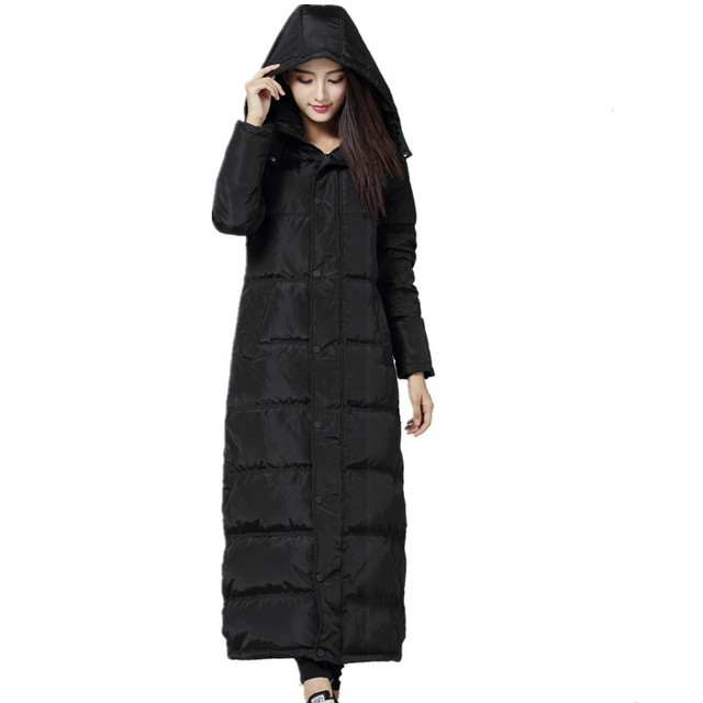 156cde369d Warm Long Black Hooded Manteau Femme Hiver Down Cotton Parka Winter Jacket  High Quality Coat Large Size Chaqueta Mujer TT3427