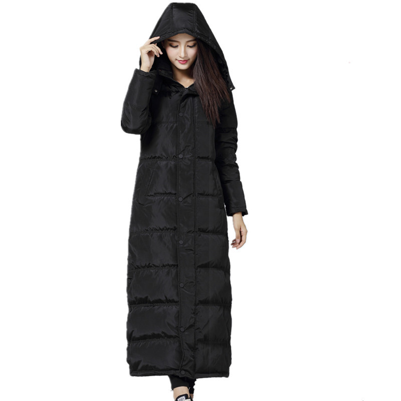 Warm Long Black Hooded Manteau Femme Hiver Down Cotton   Parka   Winter Jacket High Quality Coat Large Size Chaqueta Mujer TT3427