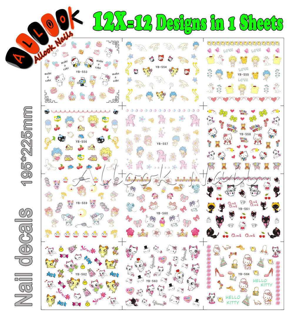 Nail Art Decal(Large Piece YB553-564 12 DESIGNS IN 1)Mixed Cartoon Cat Hello Kitty Nail Art Water Transfer Sticker For Nail nail art large piece yb529 540 12 designs in 1 cartoon pet hello kitty nail art water transfer sticker decal for nail