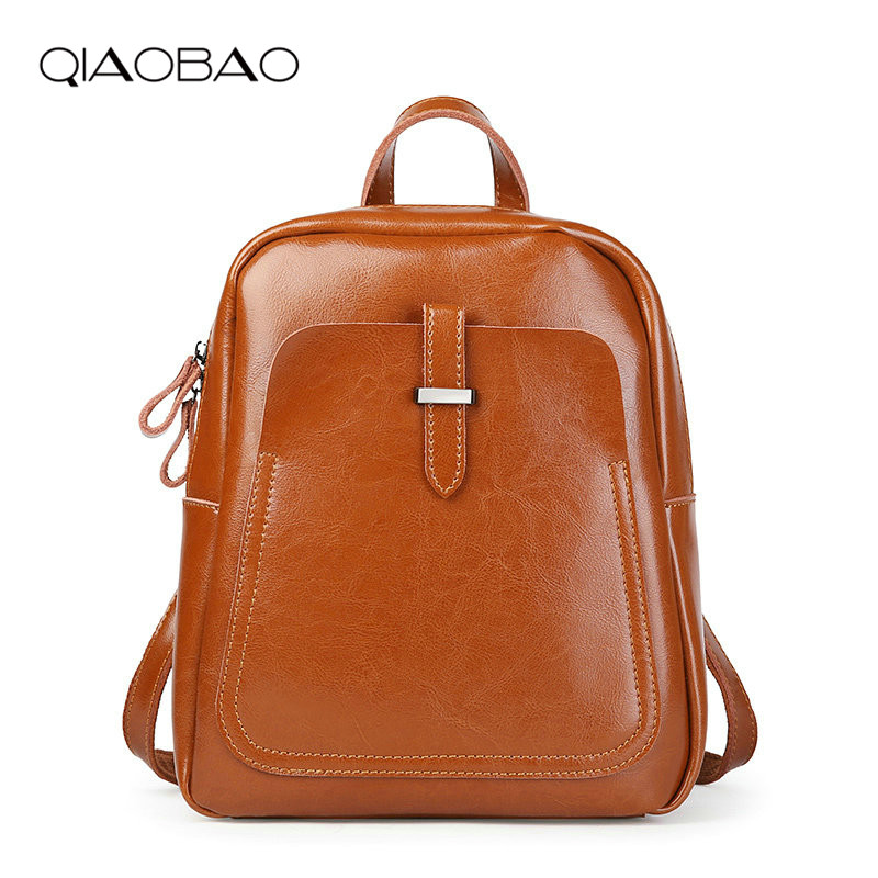QIAOBAO Korean Style Fashion Cowhide Backpack Women Genuine Leather Shoulder Bag Large Capacity School Backpacks for Girls hot sale women s backpack the oil wax of cowhide leather backpack women casual gentlewoman small bags genuine leather school bag