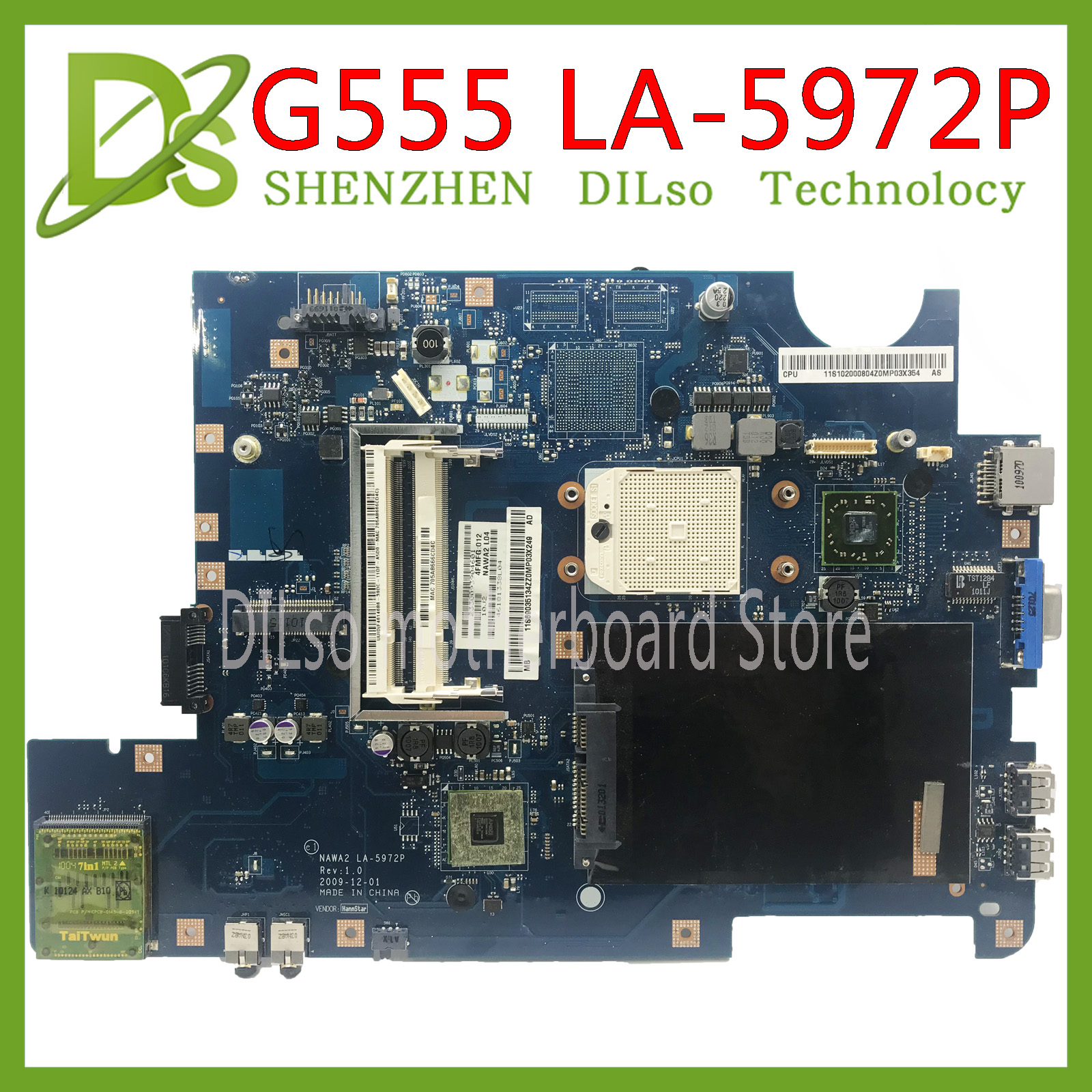 KEFU NAWA2 LA-5972P For Lenovo G555 Notebook G555 Laptop Motherboard NAWA2 LA-5972P Mainboard DDR2 Test Original Mothebroard
