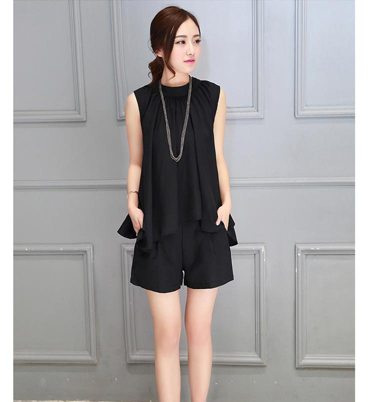 Summer 2 Pieces Women Sleeveless Solid Color Irregular Design Blouses With Shorts Elegant Plus Size Fashion Casual Tops