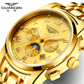 Watch Men Gold GUANQIN Roman Watches Man Fashion Luxury Watch With Moon Phase Date Month Week Luminous 24 Hours Display Clock