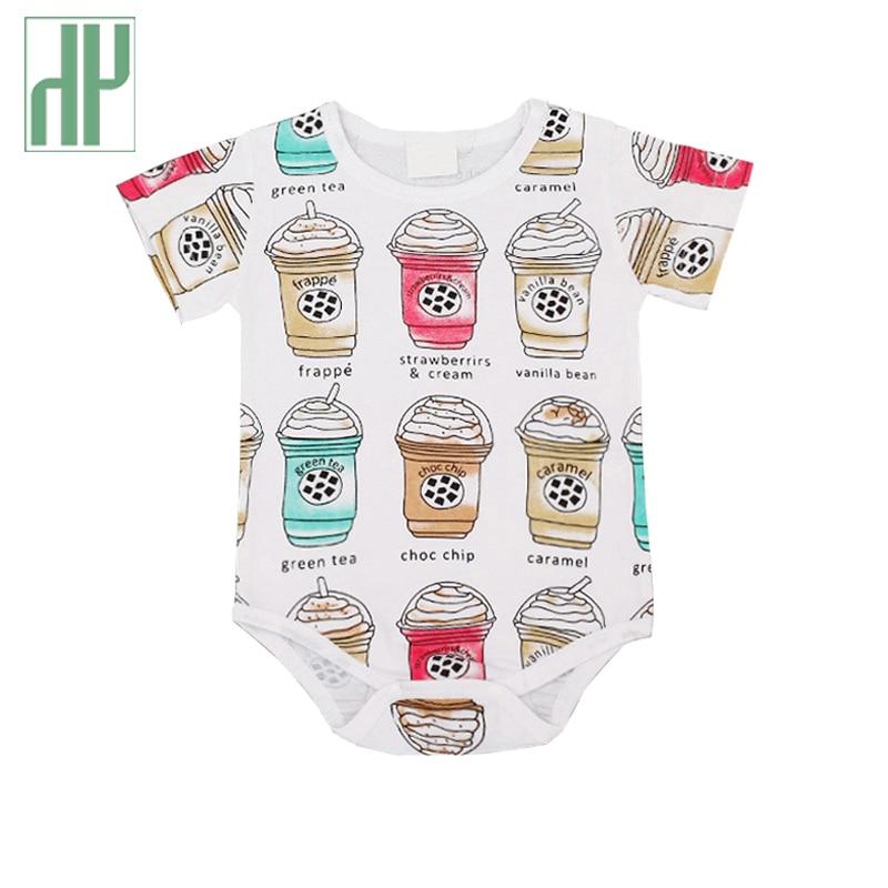 Pakaian bayi Musim Panas 2017 Bayi Perempuan Cangkir Kopi Cetak Kartun Baju Monyet Bayi Laki-laki Pakaian Set Katun Baru Lahir Jumpsuits kostum