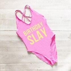 Слей на день рождения, сдельный купальник, сексуальные стринги, купальник для женщин, с высокой талией, купальный костюм для девочек, с откры... 4