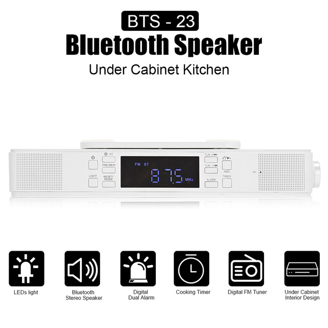 Bts 23 Under Cabinet Bluetooth Kitchen Stereo Speaker With Led Lights Mic Cooking Timer Digital Radio Dual Alarm Hands Free Call