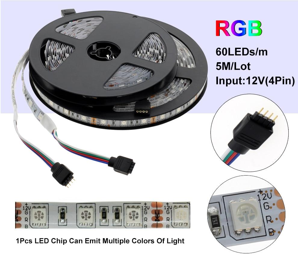 HTB1zwltKr1YBuNjSszeq6yblFXa6 LED Strip 5050 DC12V 60LEDs/m Flexible LED Light RGB RGBW 5050 LED Strip 300LEDs 5m/lot