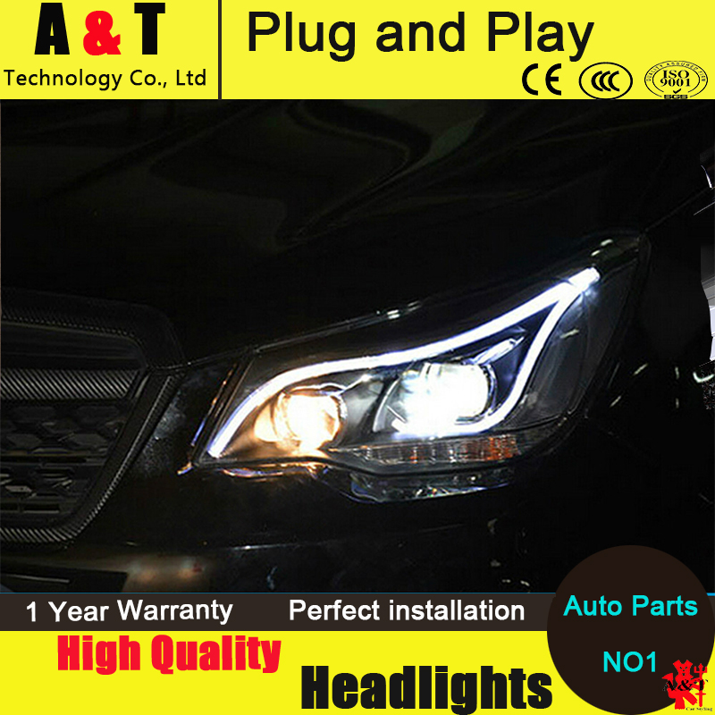 Car Styling For Subaru Forester headlight assembly 2013 Forester Headlight Automobile angel eye led drl H7 with hid kit 2 pcs.
