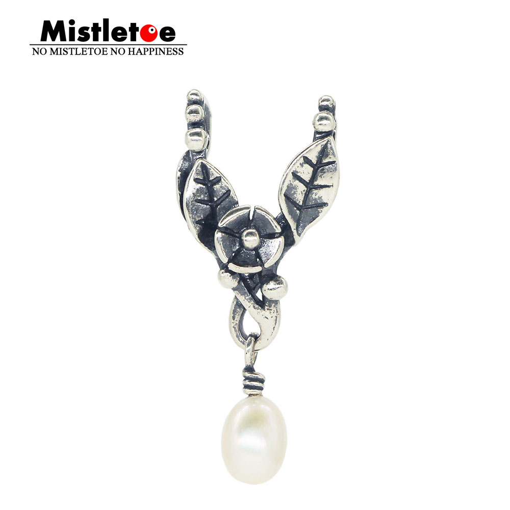 Mistletoe 925 Sterling Silver Vintage Pendant With White Pearl Dangle Charm Fit Troll 3.0mm Bracelet & Necklace Jewelry(China)